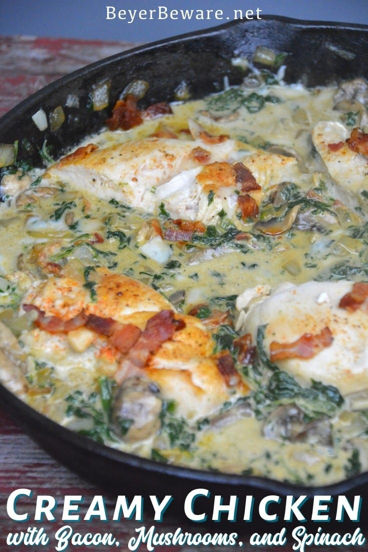 Low-Carb Creamy Chicken, Bacon, Mushroom, and Spinach Skillet is the new keto Tuscan chicken recipe that is a 15-minute meal.