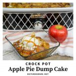 Crock Pot Apple Pie Dump Cake recipe is just a few simple ingredients of apple pie filling, cake mix, butter and pecans and in the crock pot for a couple hours. #CrockPot #Apple #DumpCake