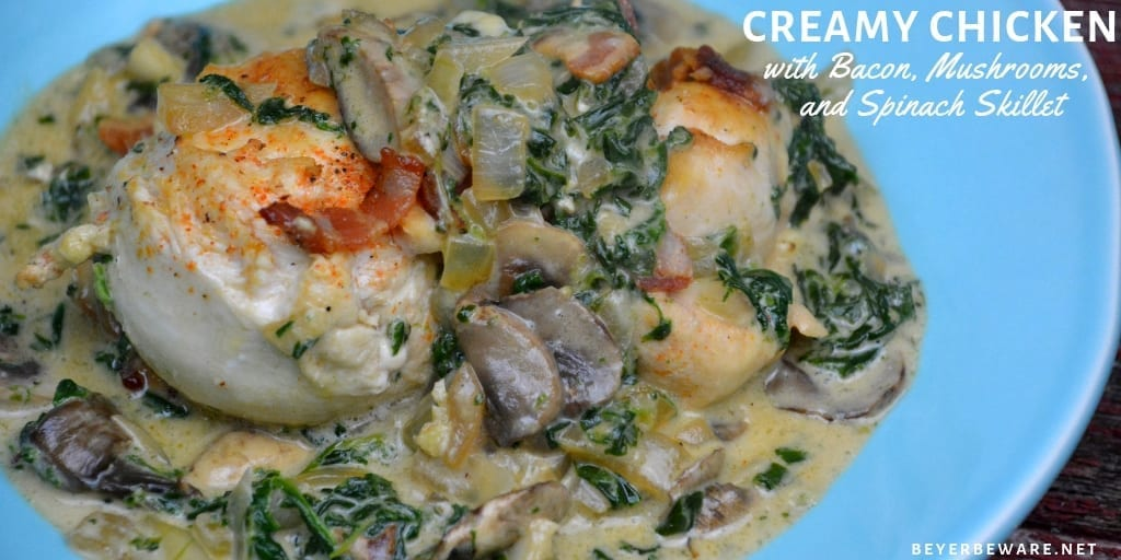 Low Carb Creamy Chicken Bacon Mushroom And Spinach Skillet