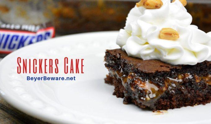 Snickers Cake – Caramel Peanut Filled Chocolate Cake