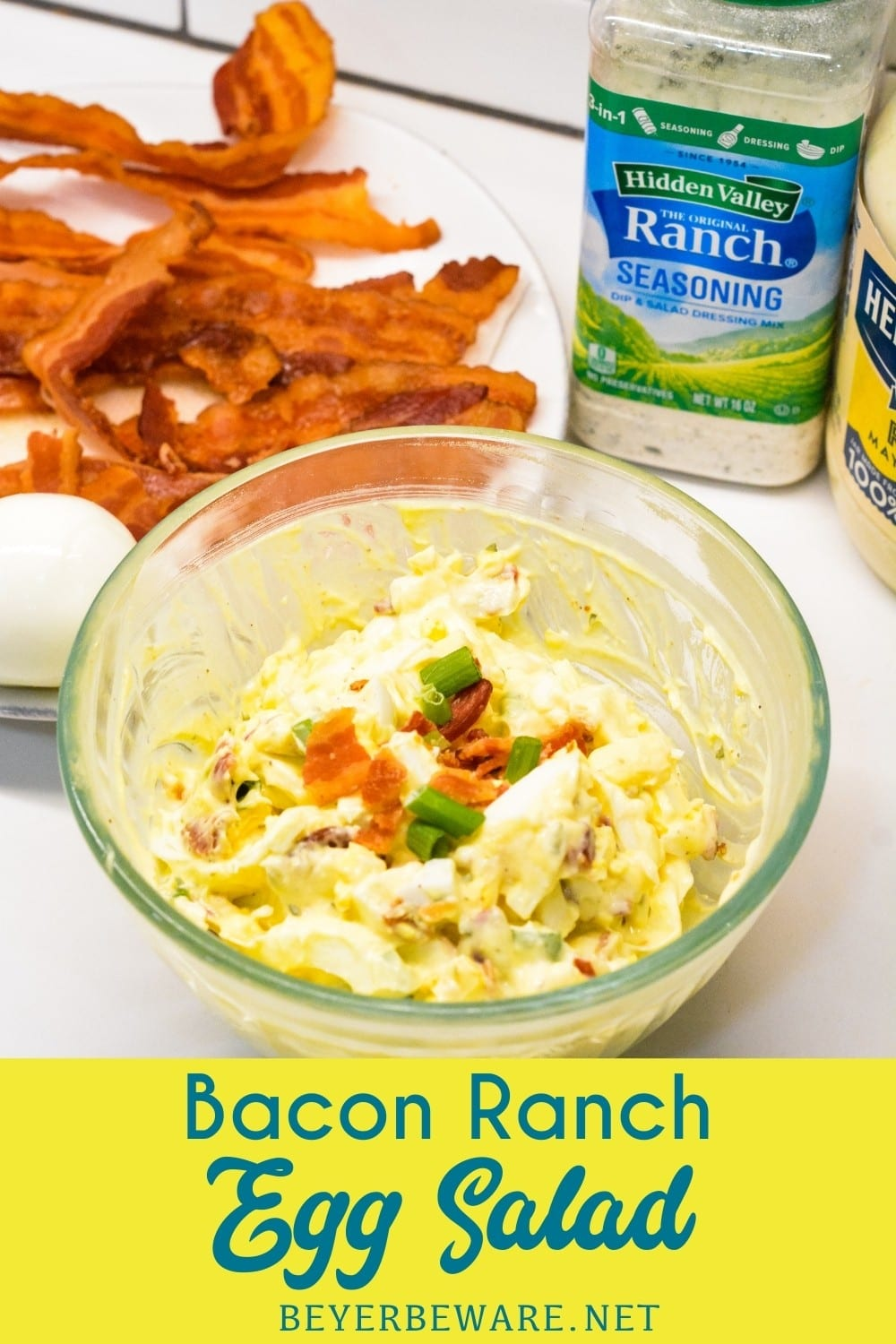Bacon Ranch Egg Salad is a low-carb and keto egg salad recipe made with base ingredients of hard-boiled eggs, bacon, mayonnaise, and ranch seasoning and can be doctored up with the addition of items like green onions, cheese, and avocados.