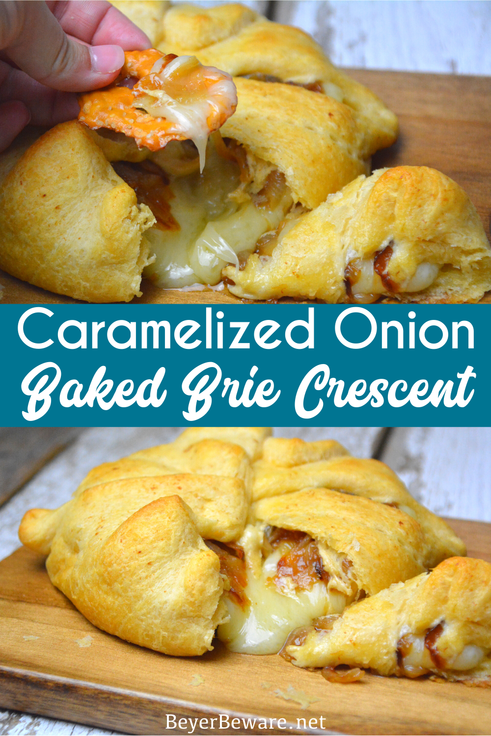 Caramelized onion baked brie crescent round is a simple brie en croute recipe made with caramelized onions and brie for a baked brie recipe.