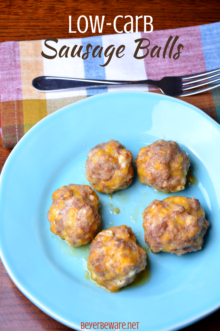 Low-Carb sausage balls use ground pork, cream cheese, parmesan and shredded cheeses to form the base for an oven baked pork meatball. #keto #lowcarb #meatballs #sausage
