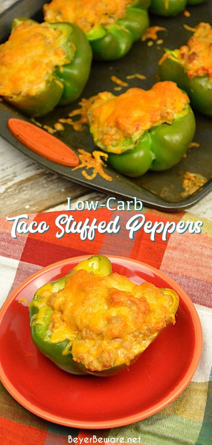 Low-Carb Taco Stuffed Peppers are a 9 net carb low carb stuffed pepper recipe with a queso sausage filling that is full of your favorite Mexican flavors and baked to form a cheesy crust over the peppers and sausage filling for a keto taco like dinner.