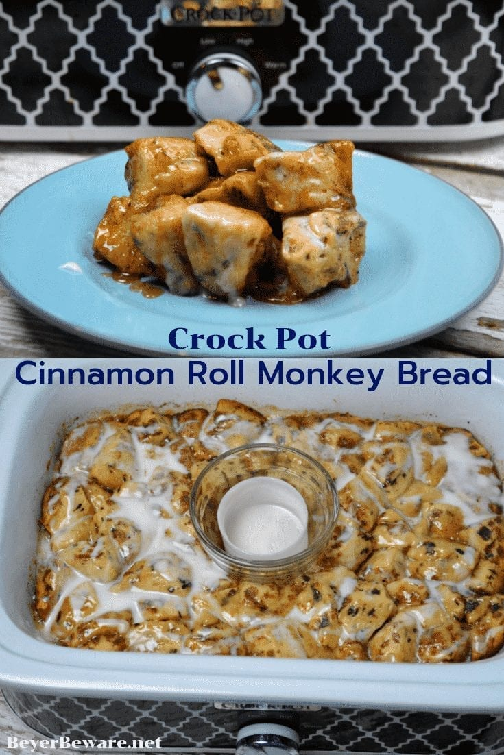 Crock Pot Cinnamon Roll Monkey Bread combines two tubes of refrigerator cinnamon rolls with caramel sauce that becomes a gooey cinnamon pull-apart bread that is drowned in icing to finish it off.  #crockpot #MonkeyBread #CinnamonRolls #Breakfast