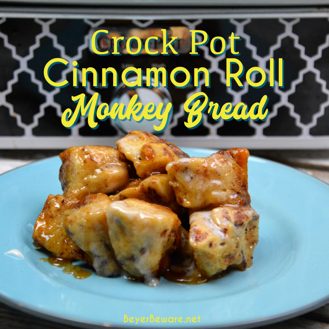 Crock Pot Cinnamon Roll Monkey Bread combines two tubes of refrigerator cinnamon rolls with caramel sauce that becomes a gooey cinnamon pull-apart bread that is drowned in icing to finish it off.