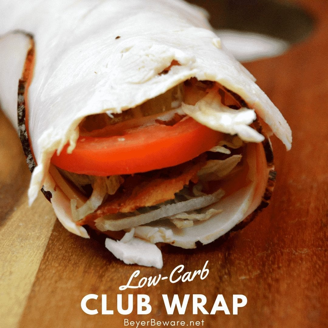Low Carb club wraps use deli ham and turkey for the outside wrap and filled with cheese, bacon, shredded lettuce, pickles, tomatoes, and ranch to make a gluten-free and keto club rollups. #Keto #lowcarb #GlutenFree #rollups #LowCarbRecipes #KetoRecipes
