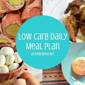 This week's low carb meal plan keeps a daily food intake under 21 carbs and 2000 calories. It is a great combination of utilizing leftovers for second meals and adding some variety to your diet. #LowCarb #Keto #MealPlan #LowCarbMealPlan