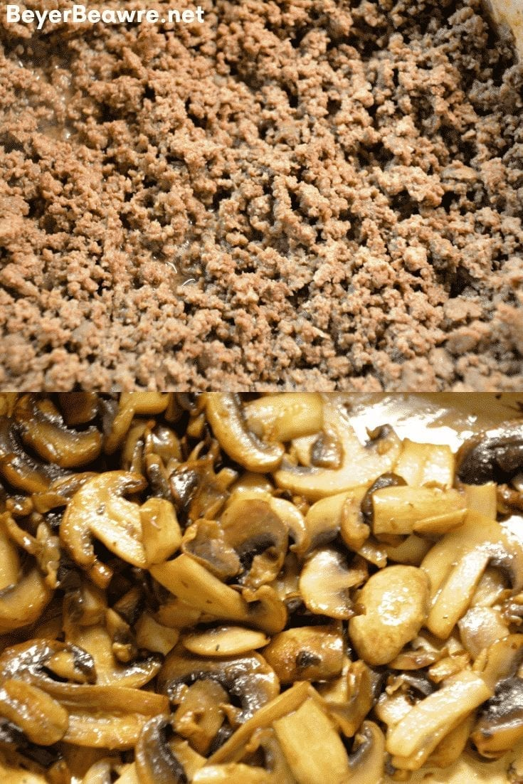 Keto Mushroom Swiss Burger Casserole recipe is a simple low carb ground beef casserole combining hamburger, swiss cheese, mushrooms and baked for 20 minutes. #keto #LowCarb #GroundBeef #Burger #Casserole #Hamburger #Beef #KetoRecipes