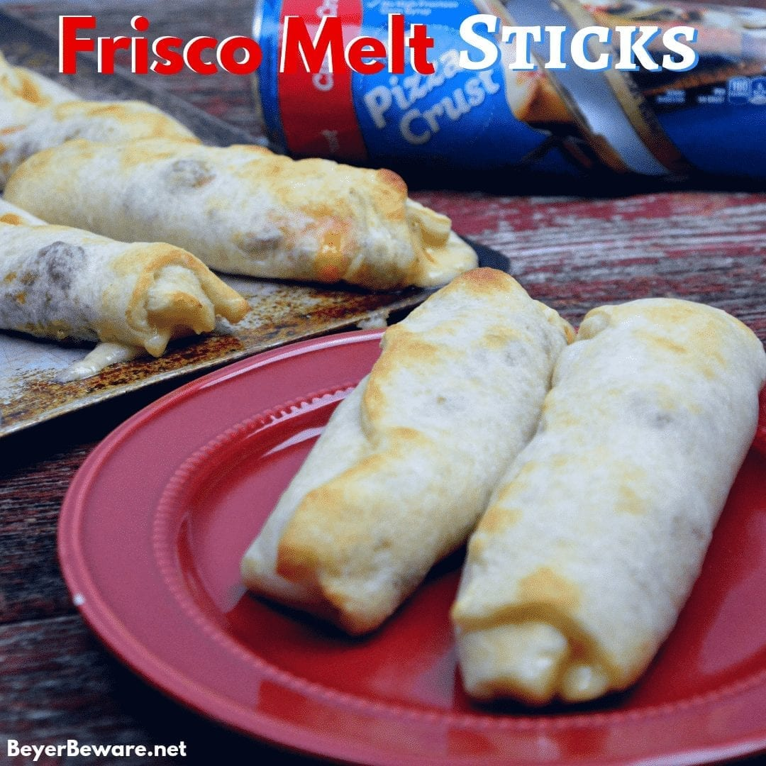 Frisco Melt Sticks combined browned hamburger with swiss cheese and a simple Friscomelt sauce to create the handheld stuffed Frisco Melt burgers. #FriscoMelts #Beef #Burgers #Handhelds #EasyMeals #EasyDinners