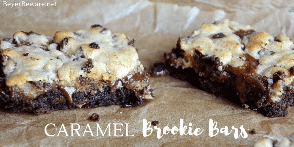 Caramel brookie bars are a caramel chocolate chip cookie brownies recipe that is the combination of a brownie mix with a chocolate chip cookie dough mix. #Brookies #Brookiebars #Brownies #Chocolatechipcookies #Caramel #Boxmix #Recipes