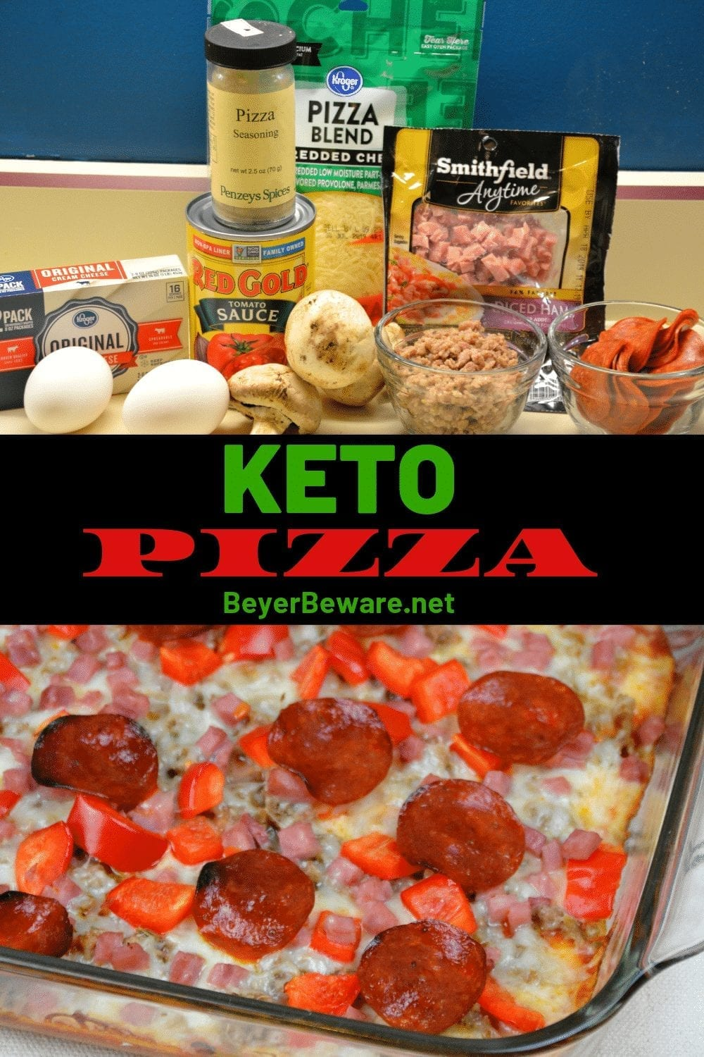Keto pizza made with a cream cheese crust and topped with a thin layer of tomato sauce, your favorite toppings, and cheese. #Keto #LowCarb #Pizza #KetoPizza #LowCarbCrust