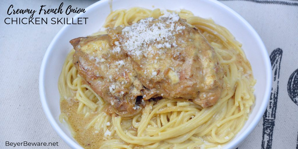 Creamy French onion chicken skillet has a base of caramelized onions used to add extra flavor to boneless, skinless chicken thighs and simmered together with cream to make an easy chicken dinner. #Skillet #Chicken #FenchOnion #Recipes #DinnerIdeas