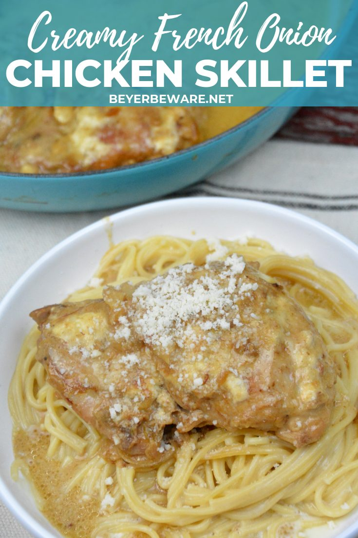 Creamy French onion chicken thighs skillet has a base of caramelized onions used to add extra flavor to boneless, skinless chicken thighs and simmered together with cream to make an easy chicken dinner. #Skillet #Chicken #FenchOnion #Recipes #DinnerIdeas