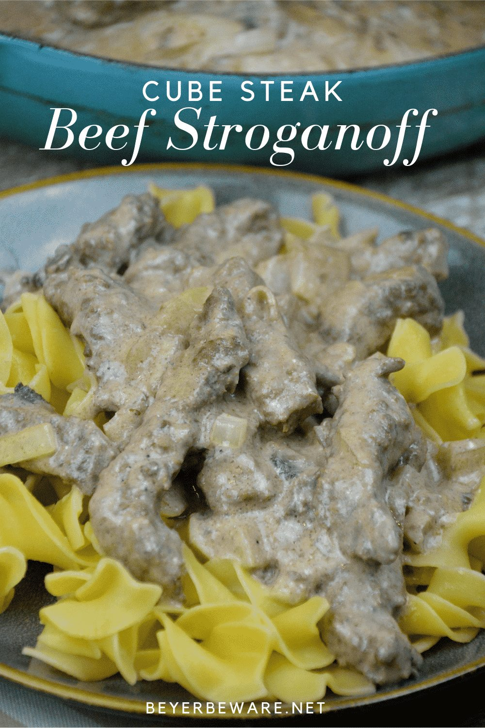 Cube steak beef stroganoff recipe is one that is made gluten-freeand can be served over noodles or rice for your family while it is also great over cauliflower rice for a low-carb beef stroganoff. #Lowcarb #Beef #CubeSteaks #EasyDinner #DinnerRecipes #Recipes