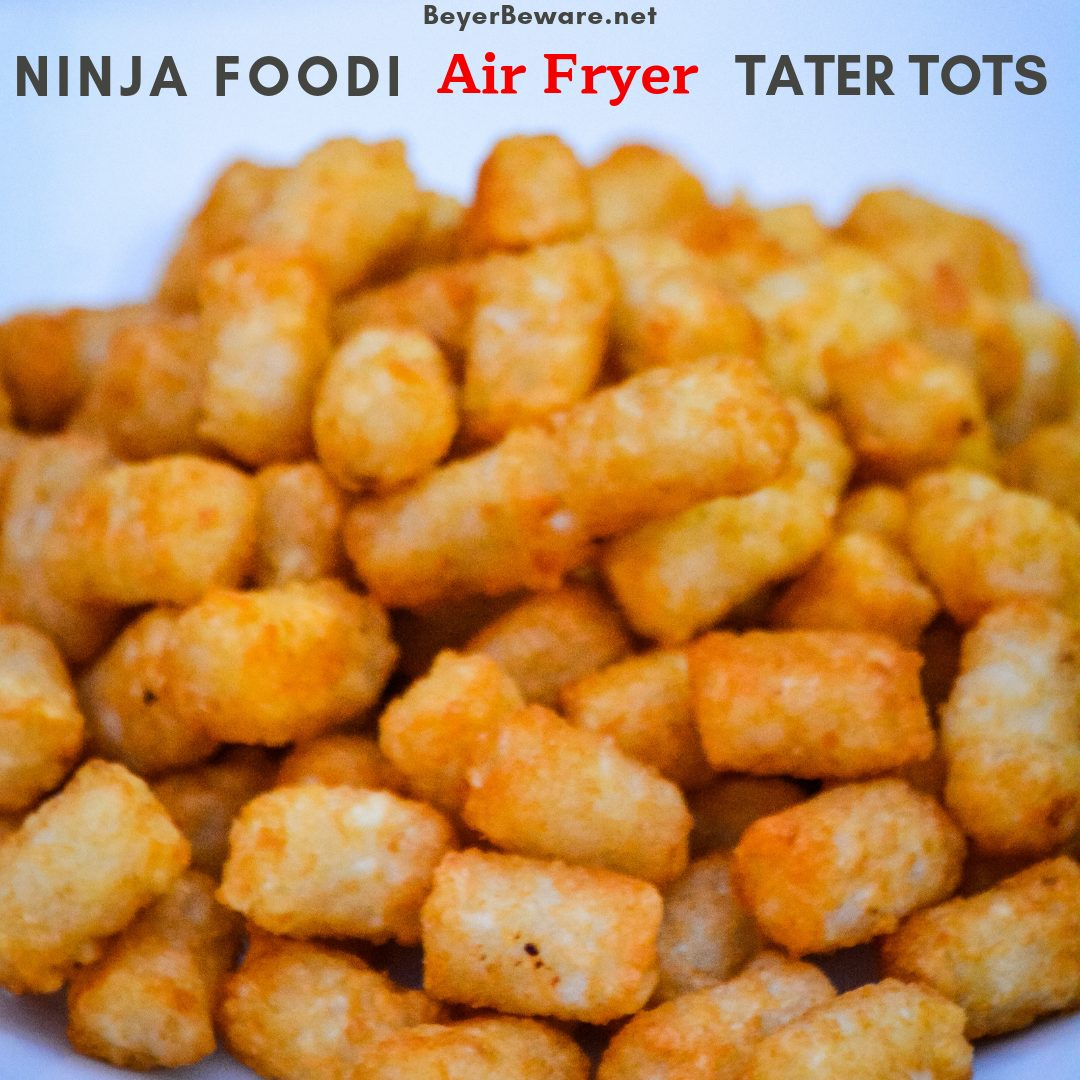 Ninja Foodi Air Fryer Tater Tots are the best made at home tater tots. So simple and ready in under 15 minutes. For extra crunch, make mini tater tots for the ultimate crispy to soft inside combination. #AirFryer #NinjaFoodi #TaterTots