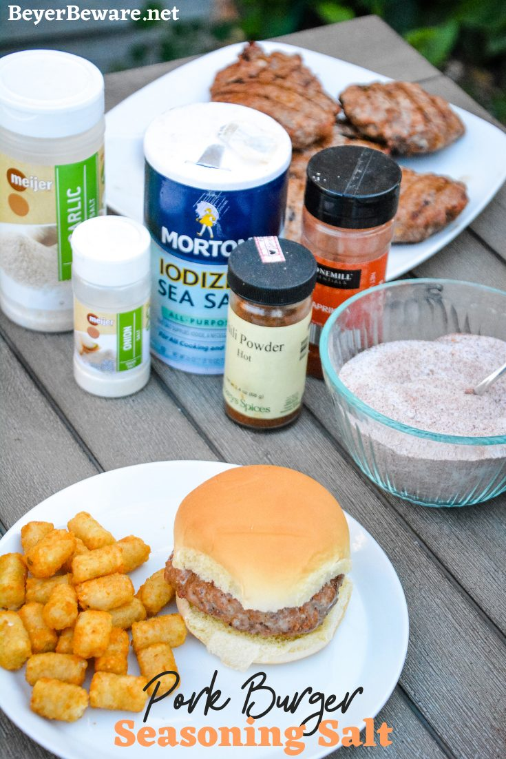 Pork Burger Seasoning Salt is a combination of three salts, paprika and chili powder to create a seasoning salt that is perfect on pork burgers, pork chops and even chicken and beef. #pork #Burgers #Seasonings #Salt #Spices #Grilling #Recipes