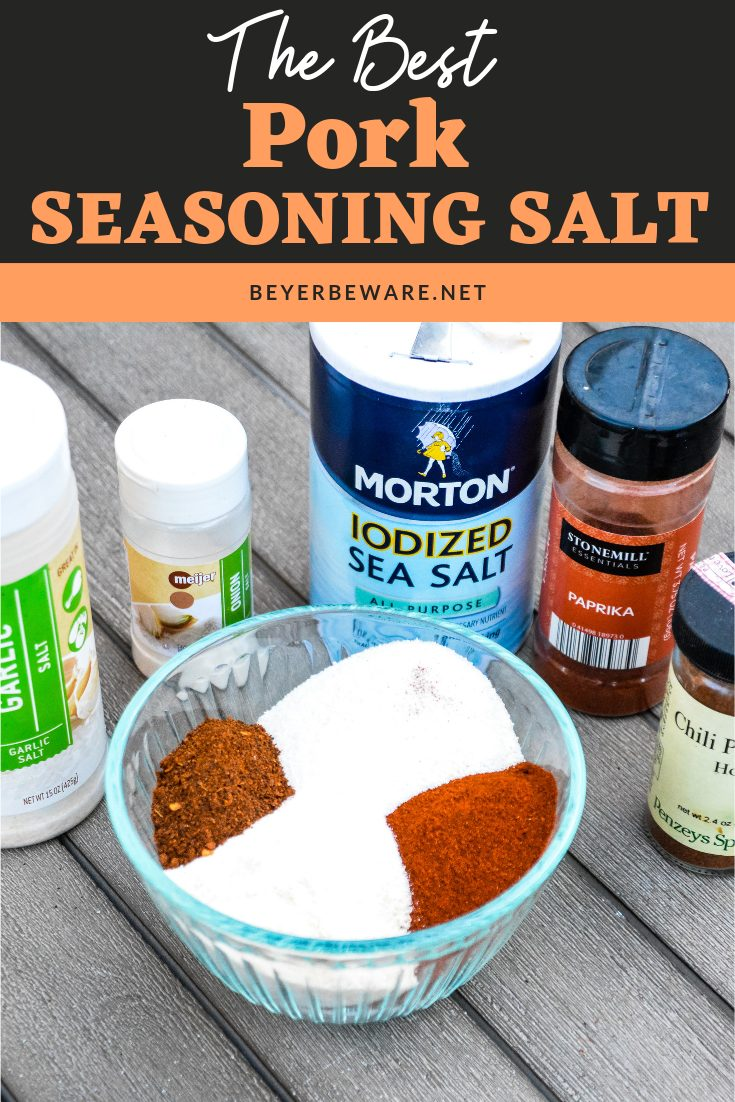 Pork Seasoning Salt is a combination of three salts, paprika and chili powder to create a seasoning salt that is perfect on pork burgers, pork chops and even chicken and beef. #pork #Burgers #Seasonings #Salt #Spices #Grilling #Recipes