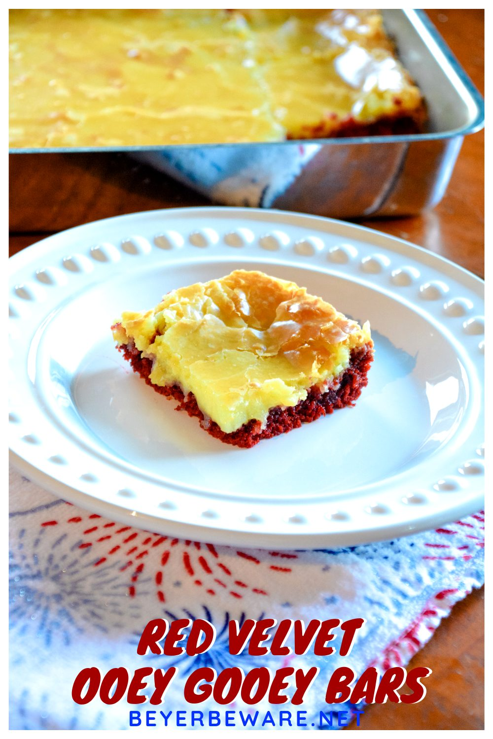 Red Velvet Ooey Gooey Butter Bars