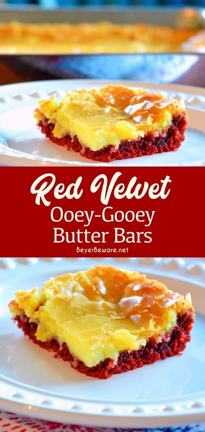 Red velvet ooey gooey butter bars are a chocolate lovers delight with these cream cheese red velvet cake bars.