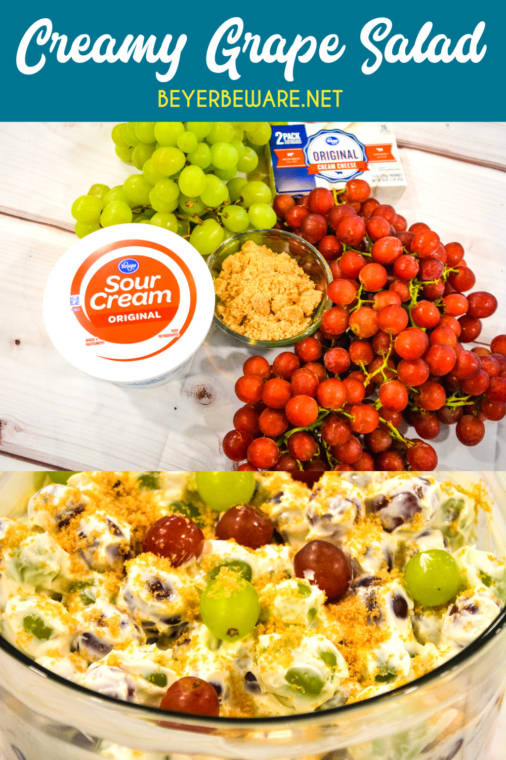 Creamy grape salad is an easy 5-ingredient fruit salad recipe made with red and green grapes, cream cheese, sour cream, and brown sugar.