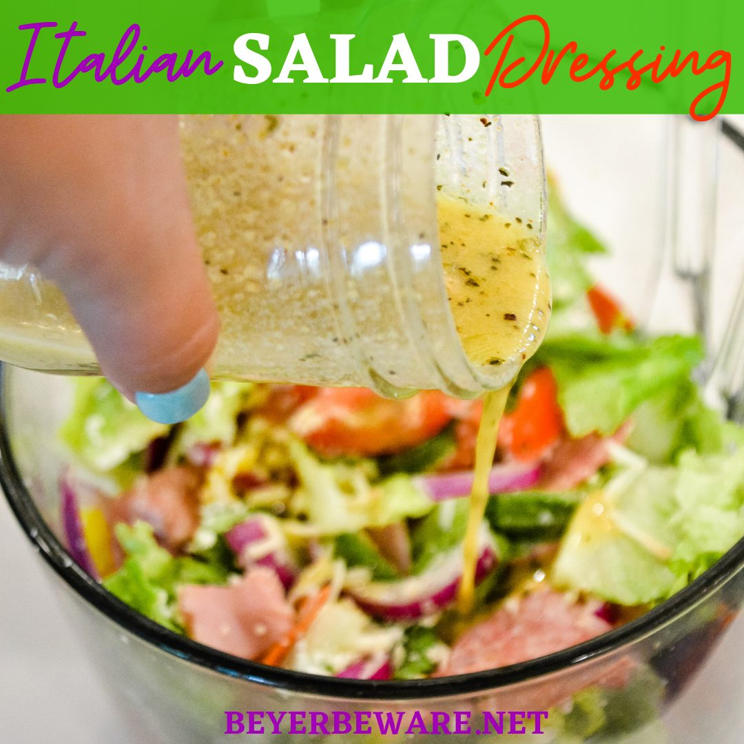 Homemade Italian Salad dressing combine simple tangy red wine vinegar and lemon juice with dijon mustard and olive oil with Italian herbs and seasonings for a simple homemade dressing recipe.