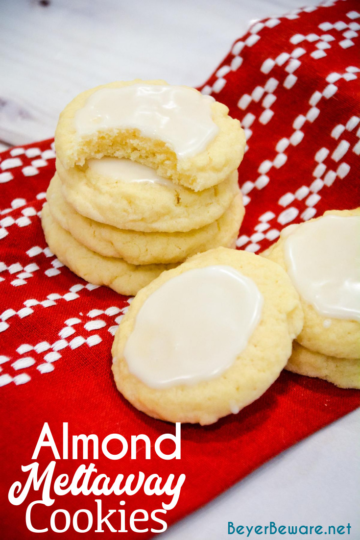 Almond Meltaway Cookies are a simple shortbread style cookie with almond flavoring and a simple almond-flavored icing.