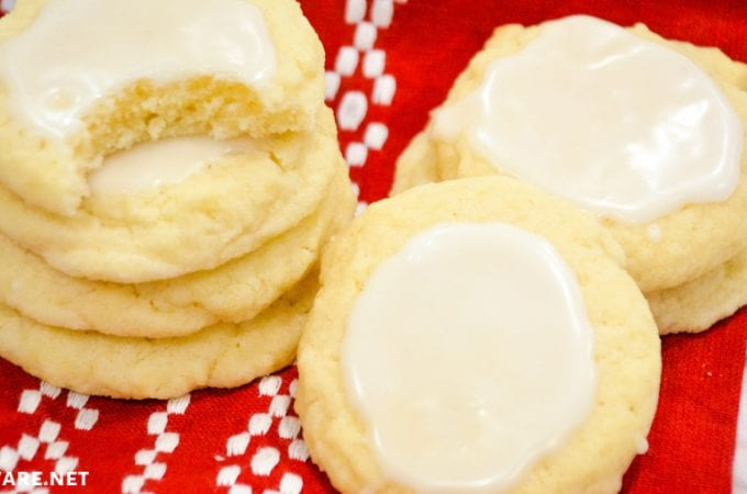 Almond Meltaway Cookies are a simple shortbread style cookie with almond flavoring and a simple almond-flavored icing. #Cookies #Almond #Meltaway