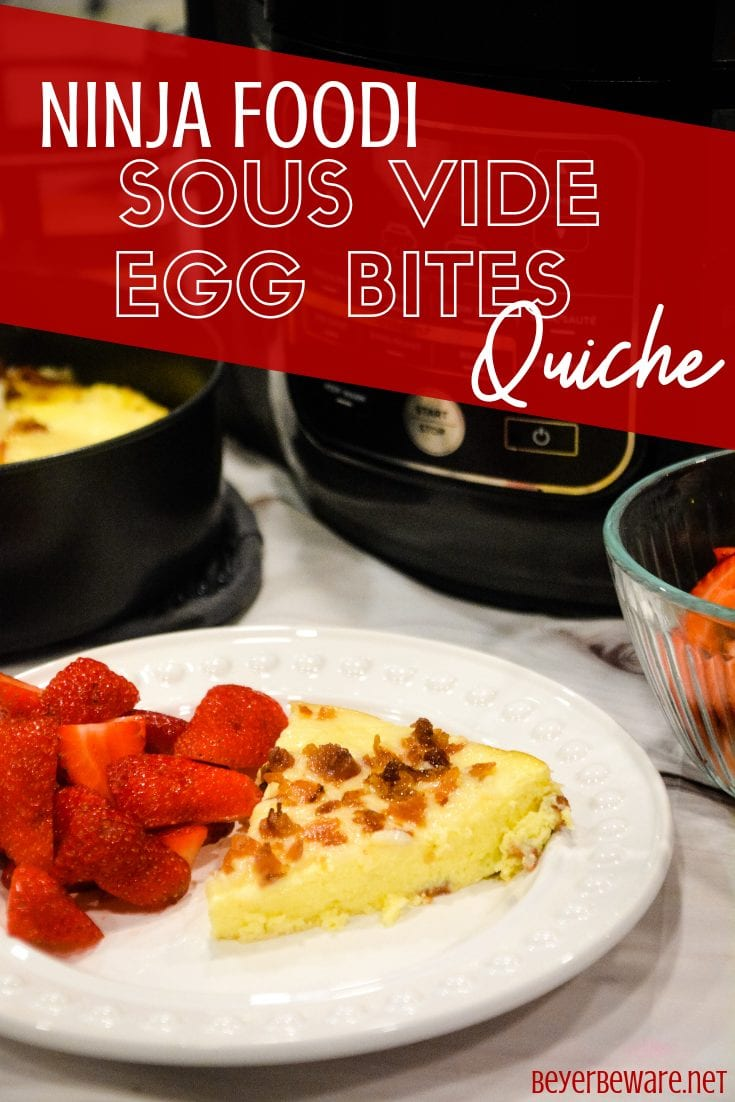 Ninja Foodi Sous Vide Egg Bites Quiche is an amazing, glorious low-carb crustless bacon cheese quiche made in less than 30 minutes.