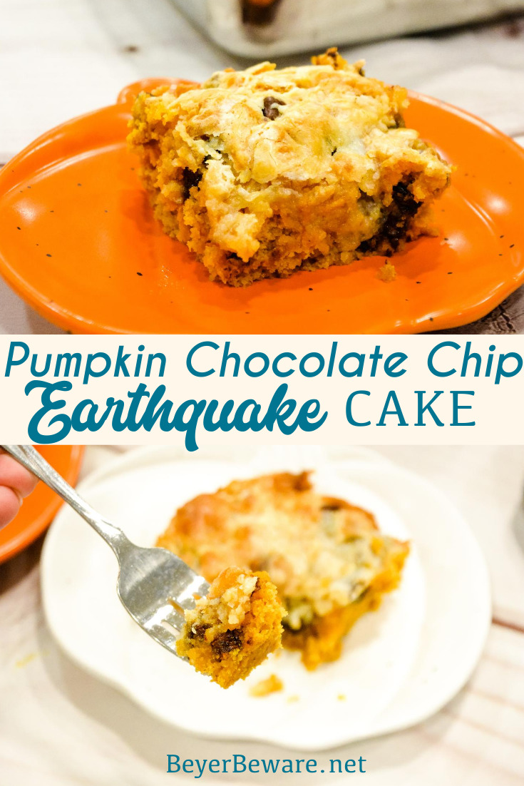 Pumpkin Chocolate Chip Earthquake Cake is the simple recipe of a three-ingredient cake with a buttery cream cheese and chocolate chip topping for the best pumpkin recipe.