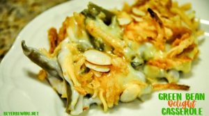 This green bean delight casserole is a dressed-up version of the original green bean casserole with the addition of some cheese and nuts to the recipe.