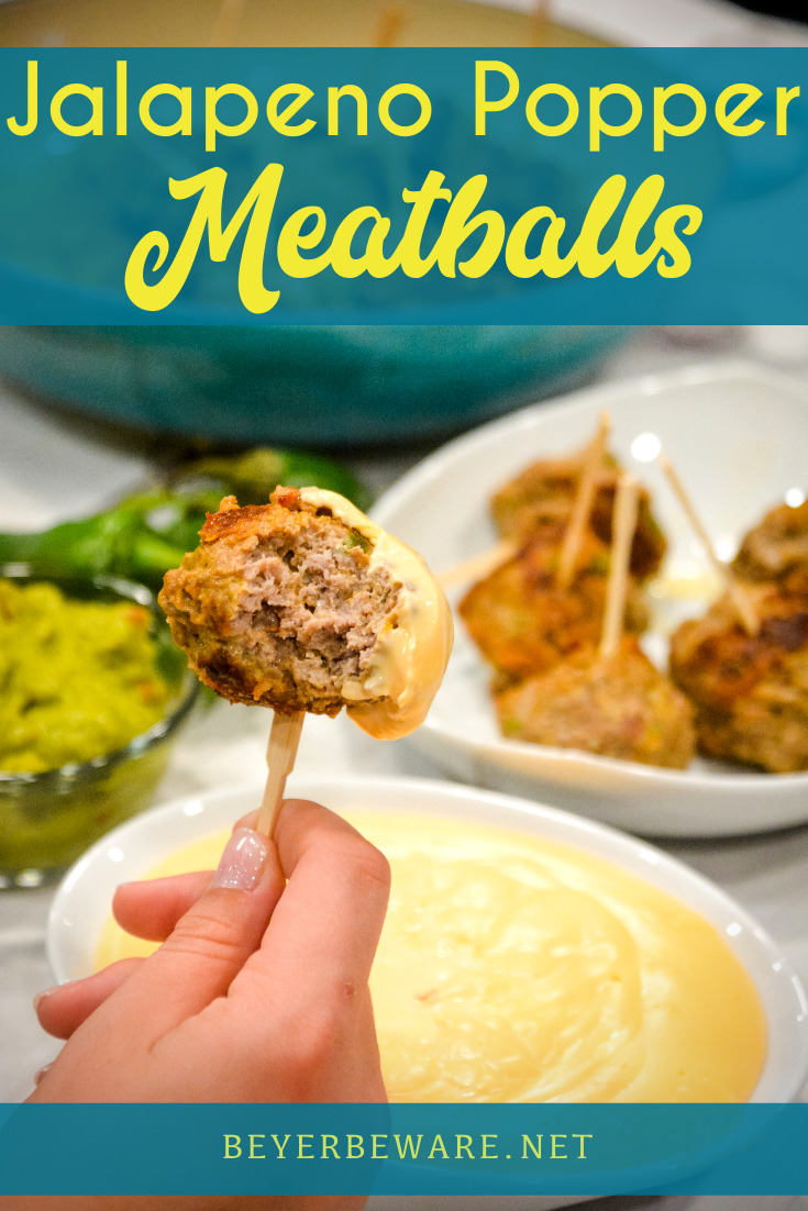 Low-Carb Jalapeno Popper Meatballs combine hamburger with chopped jalapenos, bacon, cream cheese, cheddar cheese, and lots of seasoning dipped in a low-carb cheese sauce.