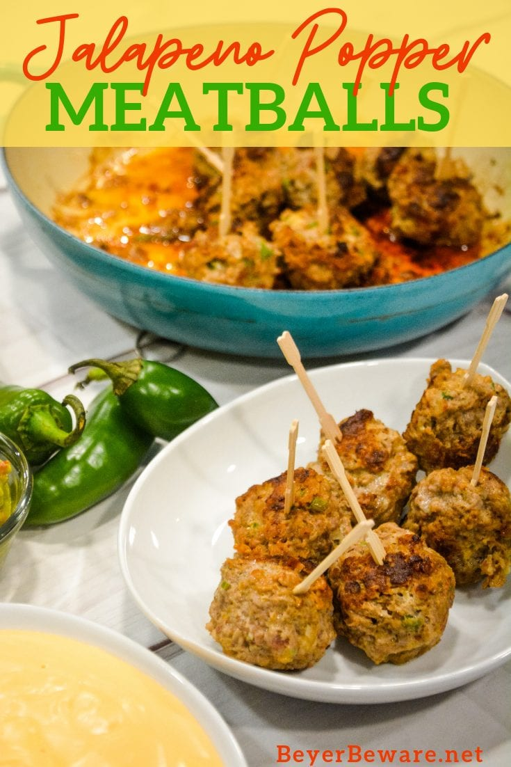 Low-Carb Jalapeno Popper Meatballs combine hamburger with chopped jalapenos, cream cheese, cheddar cheese, and lots of seasoning for the perfect gameday appetizer or quick dinner recipe.