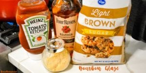 Bourbon Glaze is the s sweet and smokey combination of bourbon, ketchup, brown sugar, and dried mustard.