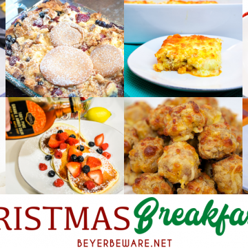 Christmas morning breakfast ideas from make-ahead breakfast casserole recipes to pastries and also breakfast drinks and cocktails to help feed your family without you spending all the time in the kitchen.