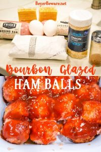 Bourbon Glazed Ham Balls are a pork lovers dream with the combination of ground ham and ground pork along with onion, crackers, and egg combine with my pork seasoning and drenched in a sweet bourbon glaze for the best pork meatball around. #Ham #Hamballs #Bourbon #Meatballs #Appetizers