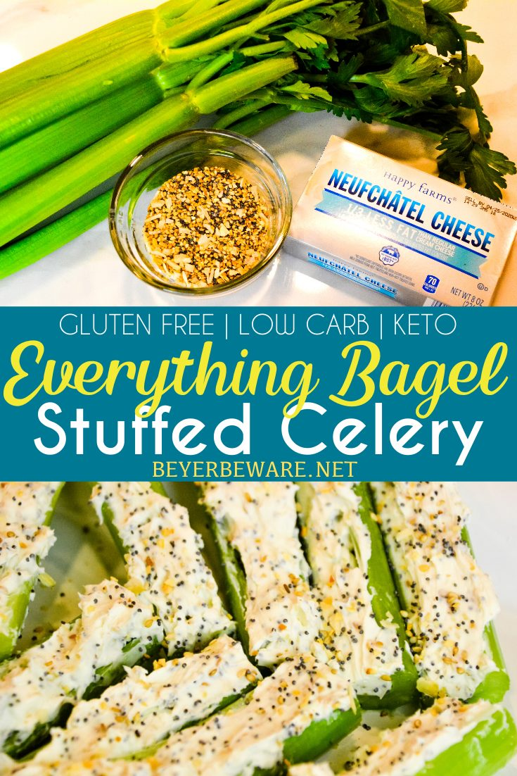 Everything Bagel Stuffed Celery is a low-carb appetizer that combines everything bagel seasoning with cream cheese and then stuffed in celery to make a simple 3-ingredient keto snack.