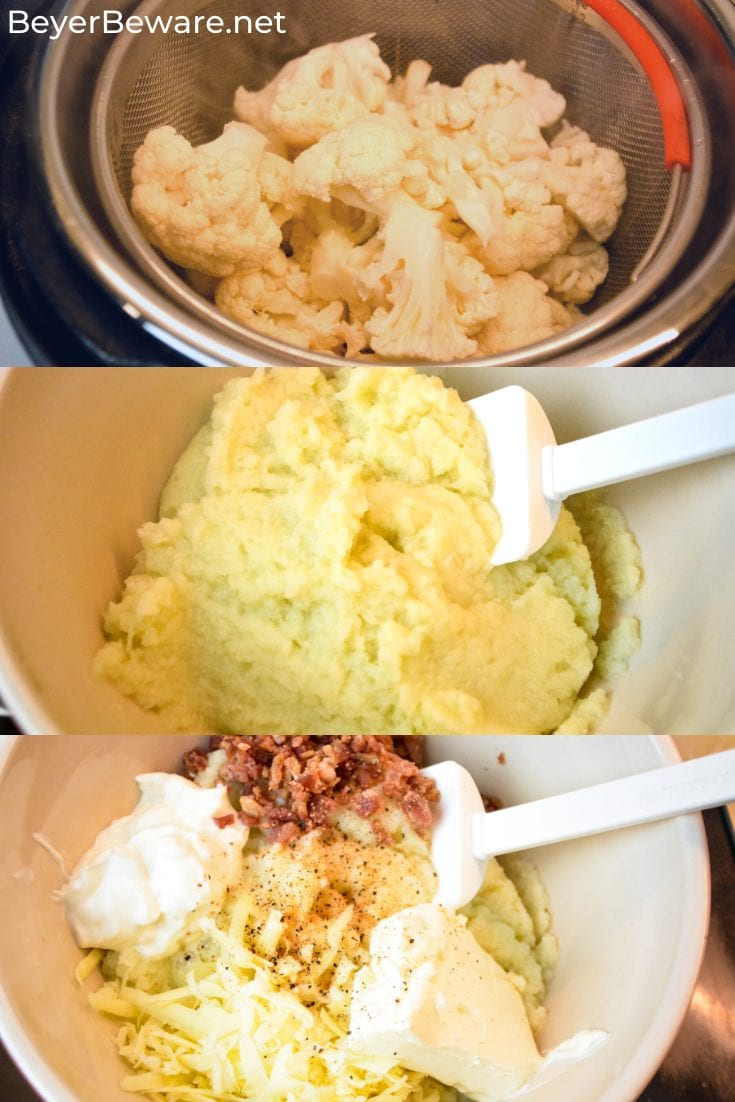 Keto loaded mashed cauliflower casserole is loaded with white cheddar cheese and bacon while made smooth as mashed potatoes with sour cream and cream cheese as it bakes to perfection. #Keto #LowCarb #KetoSideDishes #KetoRecipes #Recipes #Cauliflower