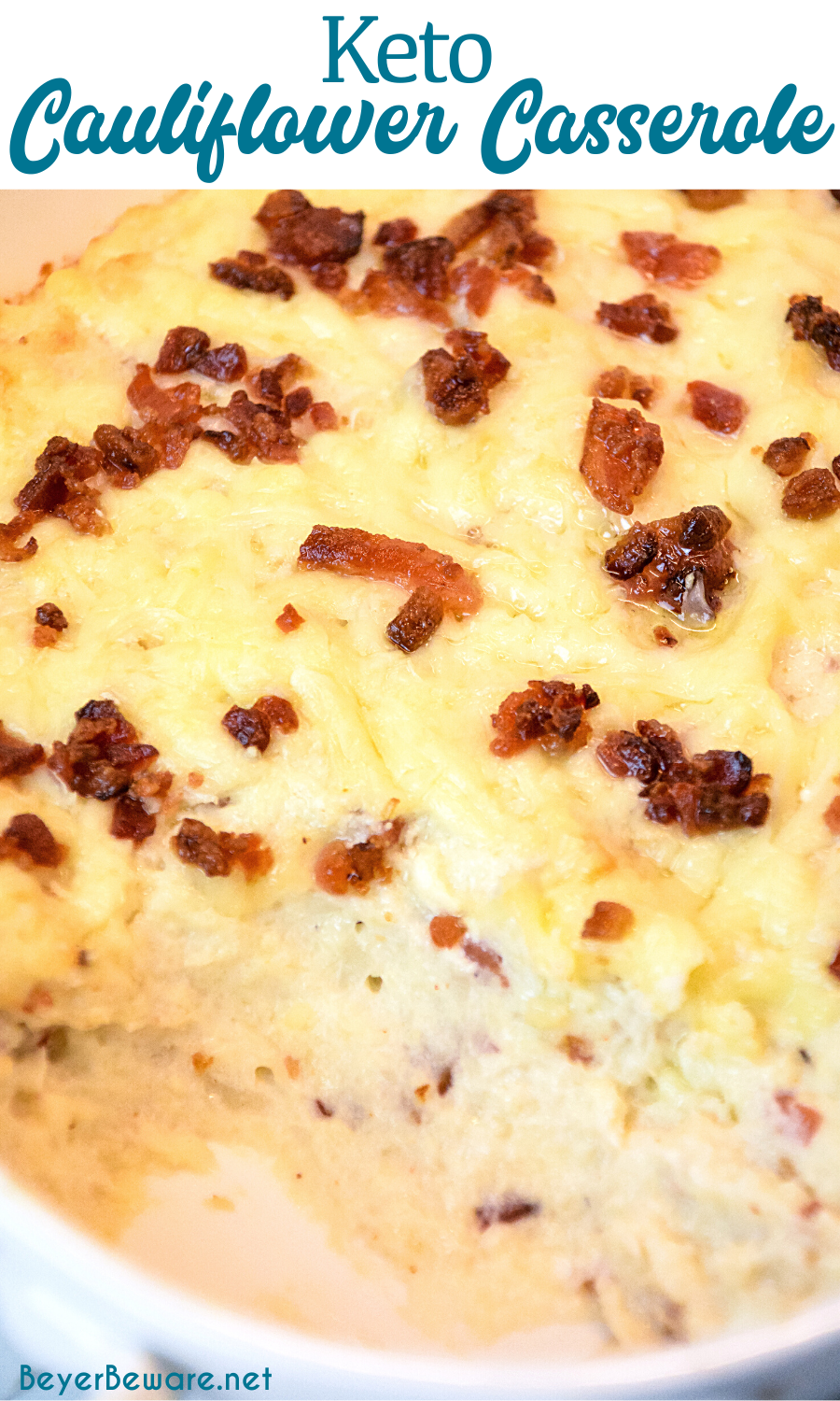 Keto cauliflower casserole is a loaded mashed cauliflower with white cheddar cheese and bacon to substitute for your mashed potatoes.