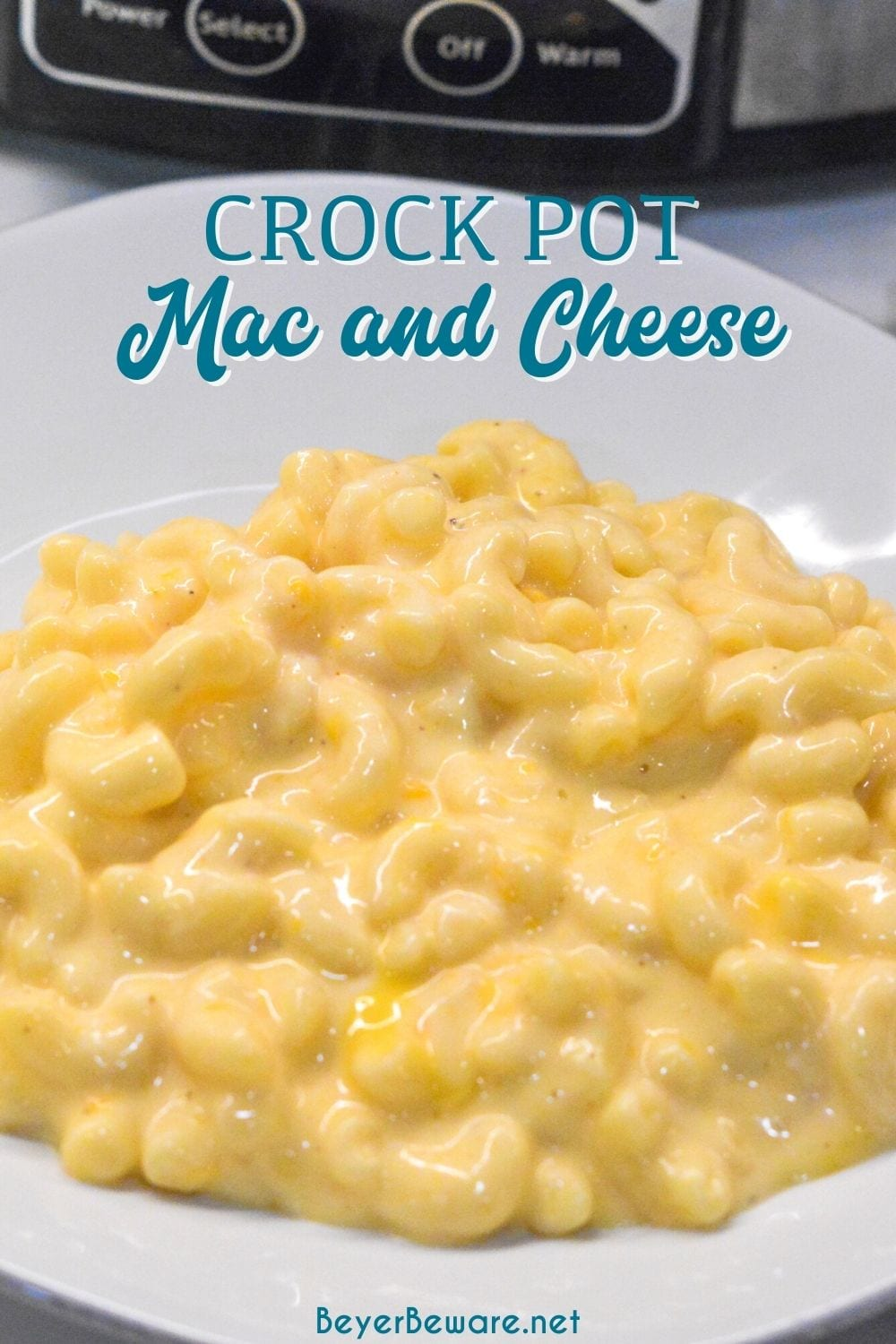 Crock pot mac and cheese recipe is made with alfredo sauce, sour cream, velveeta for ultimate slow cooker mac n cheese.