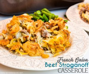 French onion ground beef casserole is an easy and hearty casserole filled with hamburger, onions, sour cream, cream of mushroom soup, noodles, and French fried onions great for a busy weeknight dinner.