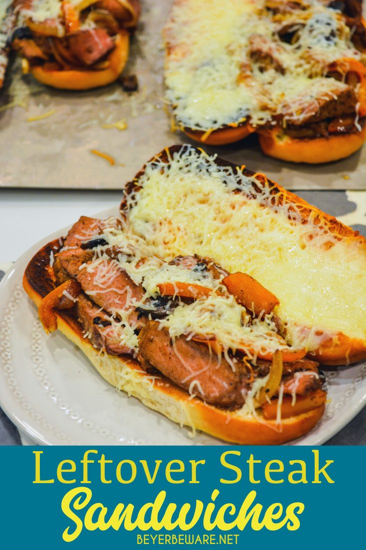 Leftover steak sandwiches are a great way to use up cooked steaks by caramelizing onions and peppers in a cast iron skillet before adding sliced steaks and mounding into a toasted hoagie roll topped off with lots of cheese.