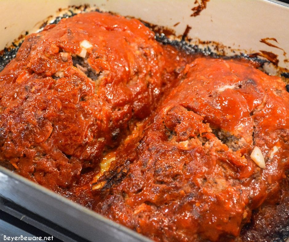 Mom's best meatloaf recipe is a gluten-free recipe as it is made with ground beef, oats, onions, eggs, milk, and a sweet and tangy glaze that is baked to perfection.