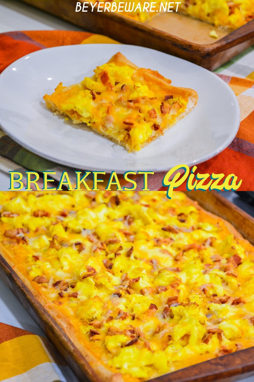 Cheesy bacon breakfast pizza is made with a refrigerated pizza crust, cheese sauce, scrambled egg, and bacon topped off with more cheese and garlic butter for a decadent breakfast treat.