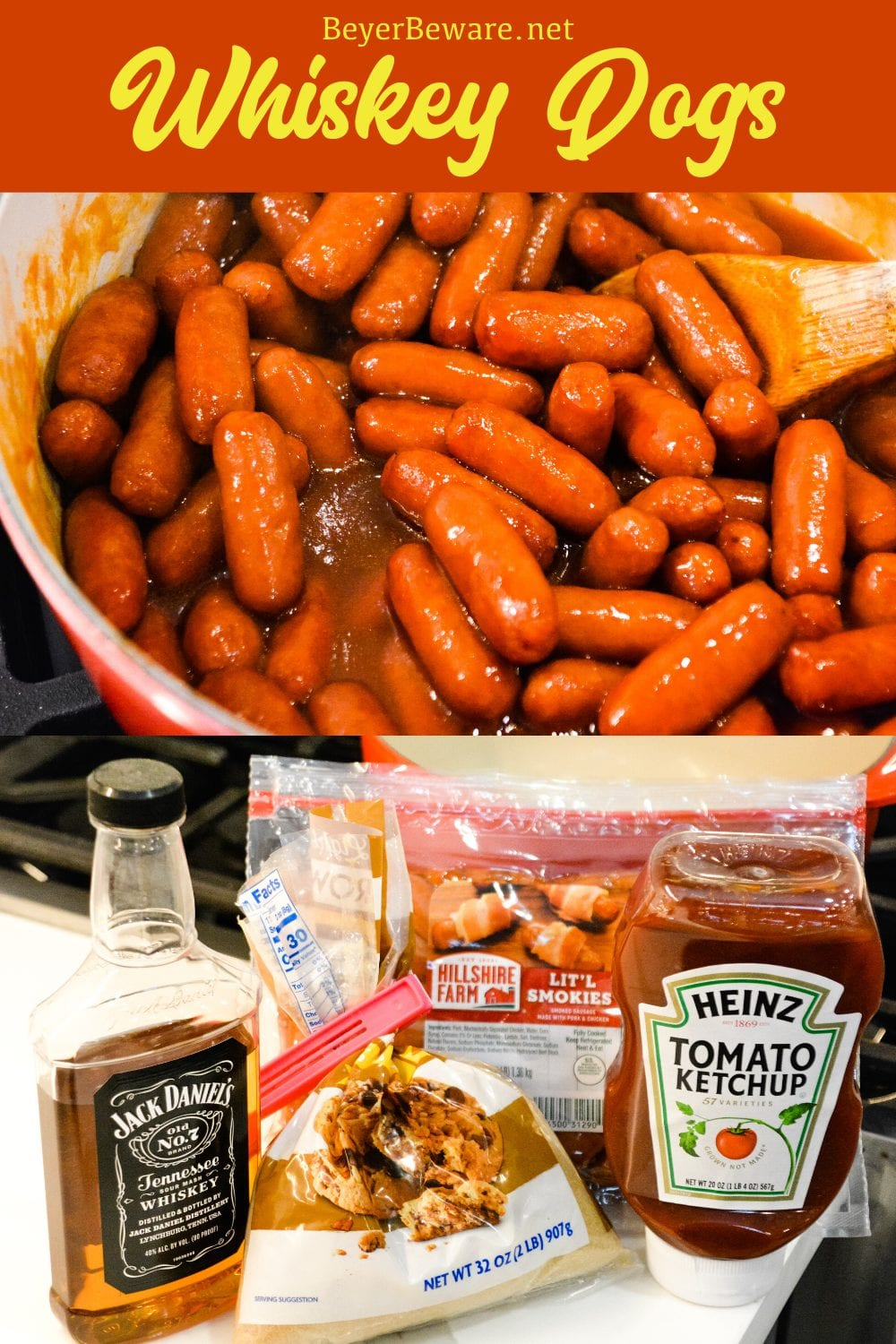 Whiskey dogs are a quick lit'l smokies appetizer made with ketchup, brown sugar, and whiskey either cooked on the stove or in a crock pot until the little weiners are hot.