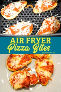 Air fryer pizza bites on naan bread are a simple snack or lunch made with naan bites, pizza sauce, pepperoni, and cheese and cook quickly in the air fryer or Ninja Foodi.
