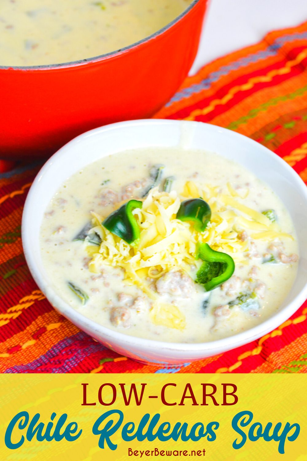 Low-carb chile Rellenos soup is a creamy keto Mexican soup recipe combining queso and cream cheese, ground pork, taco seasonings, and poblano peppers. This is poblano pepper and sausage soup is full of flavors just like your favorite chile Rellenos at your favorite Mexican restaurant.