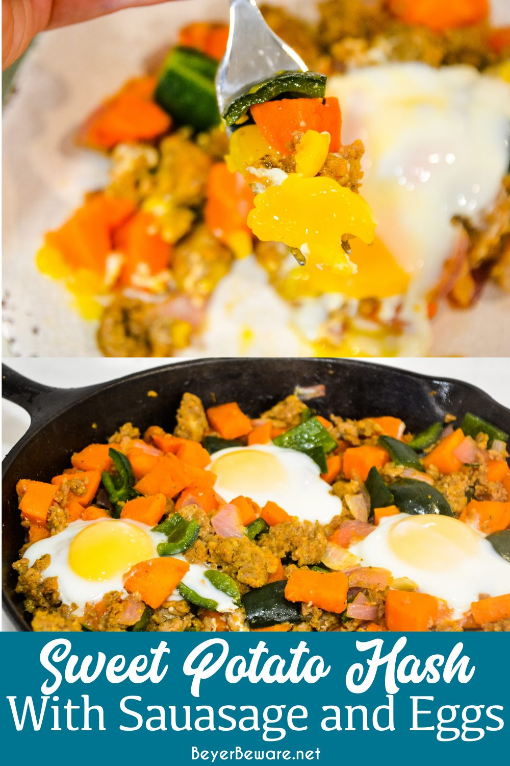 Sweet potato hash with sausage and eggs is a hearty breakfast skillet made with diced sweet potatoes, spicy sausage, onions, and poblano peppers with fried or poached eggs over the top.