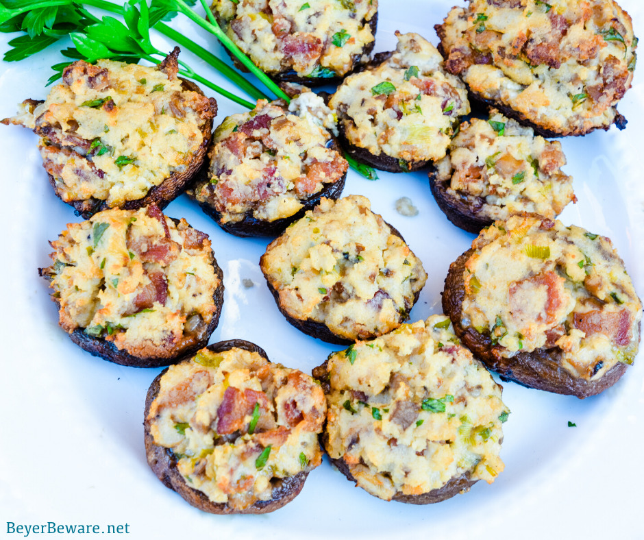 Bacon parmesan stuffed mushrooms are a gluten-free stuffed mushroom recipe is low-carb, filled with bacon, cheese, garlic, onions, and herbs that can be grilled or baked.