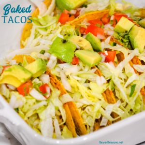 Baked tacos with toppings